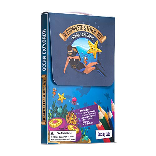 Ocean Themed Stencil Drawing Kits in Carrying Case - Lots of Stencils for Kids Includes Colored Pencils, Activity Book, Sharpener