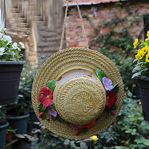 - hydbj Outdoor Statue Outdoor Garden Decoration Garden Landscaping Decoration Creative Gardening Ornament Simulation Straw Hat Bird Nest Decoration Pendant
