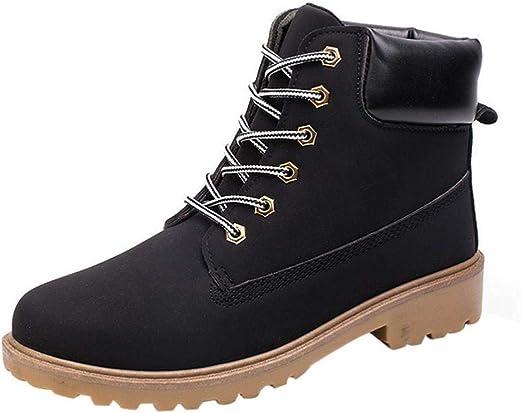 TALLA EU42--CN42. WWricotta LuckyGirls Zapatillas Casual Hombres Botas Pieles Forradas de Caña Alta Moda Cómodas Calzado Andar Zapatos Planos Bambas con Cordones Botas