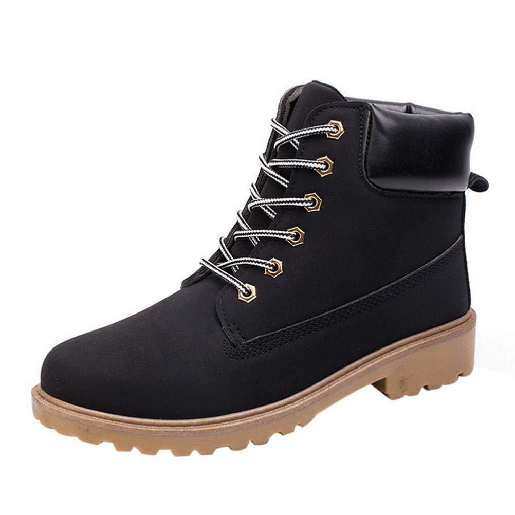 TALLA EU40--CN40. WWricotta LuckyGirls Zapatillas Casual Hombres Botas Pieles Forradas de Caña Alta Moda Cómodas Calzado Andar Zapatos Planos Bambas con Cordones Botas