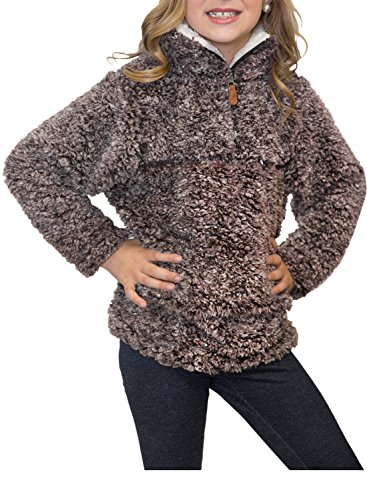 ZESICA Girls Kids 1/4 Zip Pebble Pile Sherpa Fleece Pullover Jacket Tops Coffee