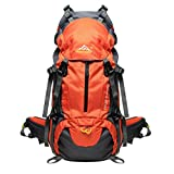 PioneerHiker 45L+5L Hiking Backpack Daypack with Waterproof Rain Cover for Camping Travel Mountaineering Climbing