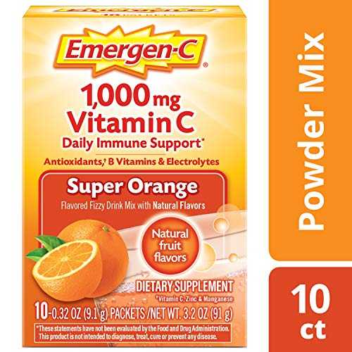 Emergen-C Vitamin C 1000mg Powder (10 Count, Super Orange Flavor), With Antioxidants, B Vitamins And Electrolytes…
