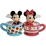 Westland Giftware Magnetic Ceramic Salt and Pepper Shaker Set, Mickey and Minnie Teacups, Multicolor