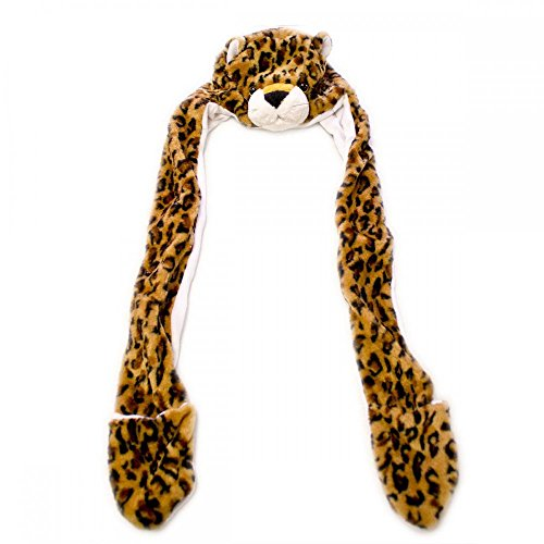 Leopard_(US Seller)Plush Hat+Earmuff+Scarf and Gloves / Mitten by Easy-W