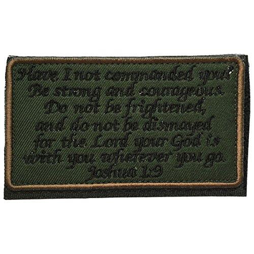 SpaceAuto Joshua 1:9 Tactical Morale Desert Badge Embroidery Hook & Loop Emblem Patch 3.93″ x 2.16″ – Green & Black