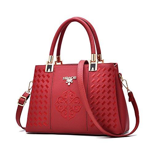 Tisdaini Mujer bolso de mano moda casual Salvaje bolso bandolera bolsas de marca Sabor Rojo