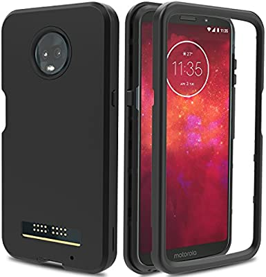 best cheap eb5ec a5197 AMENQ Moto Z3 Play Case, Moto Z3 Case, 3 in 1 Hybrid Heavy Duty Shockproof  with Rugged Hard PC and TPU Bumper Protective Armor Phone Cover for ...