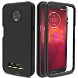 Moto Z3 Play Case, Moto Z3 Case, AMENQ 3 in 1 Hybrid Heavy Duty Shockproof with Rugged Hard PC and TPU Bumper Protective Armor Phone Cover for Motorola Moto Z Play (3nd Gen) 2018 (Black)