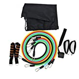 Zinnor 11pcs Resistance Band Set Workout Exercise Training Tube Pull Rope Rubber Expander Elastic Bands For Fitness, Stackable for Resistance Training Physical Therapy Home Workouts