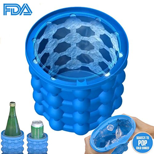 New Ice Cube Maker Genie, The Revolutionary Space Saving Dual-use Ice Cube Maker, silicone Ice bucket Party Drink Tub Trays Mold Kitchen Tools for Chilling Burbon Whiskey,Cocktail,Beverages and More