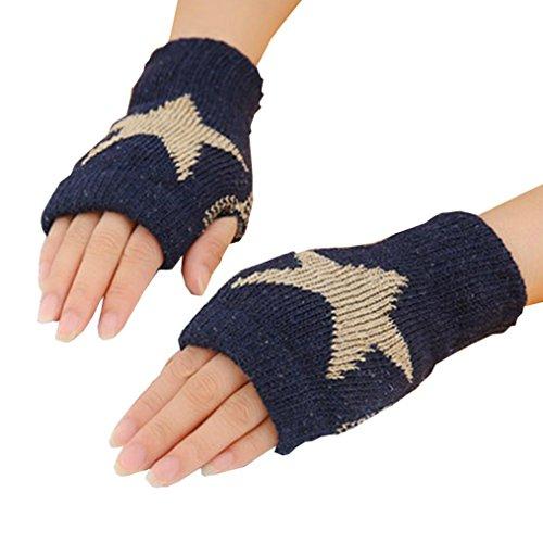 Start Men Women Winter Warm Knitted Glove Fingerless Mittens Work & Write Gloves (navy)