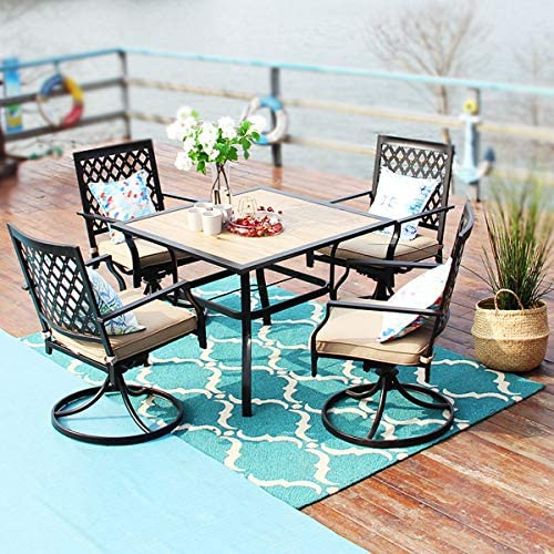 PHI VILLA Outdoor Patio Wood-Like 37″ Square Dining Table and Arm Swivel Chairs Furniture Set of 5