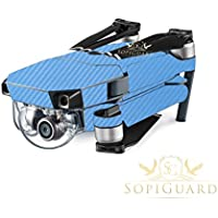 SopiGuard Sky Blue Carbon Fiber Precision Edge-to-Edge Coverage Vinyl Skin Controller Battery Wrap for DJI Mavic Pro