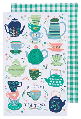 Now Designs 2232052 Kitchen Dishtowels, Set of Two, Perfect Cuppa, 2 Piece