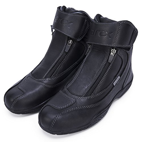 Leather Street Motorcycle Boots (Ohmotor Waterproof Leather Motorcycle Boots Anti-skid Street Moto Racing Boots Motorbike Chopper Cruiser Touring Riding Shoes (Size 9.5))