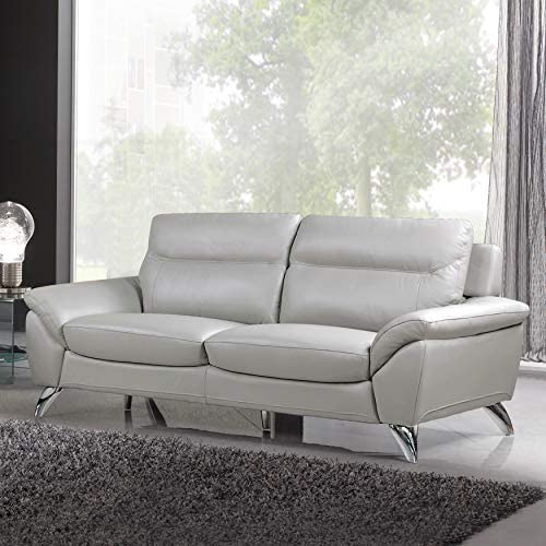Cortesi Home Monaco Contemporary Leather Sofa, Grey