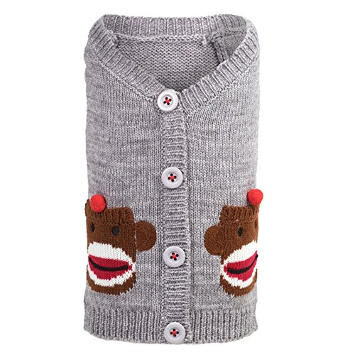 The Worthy Dog Sock Monkey Cardigan for Dogs, Large, Gray