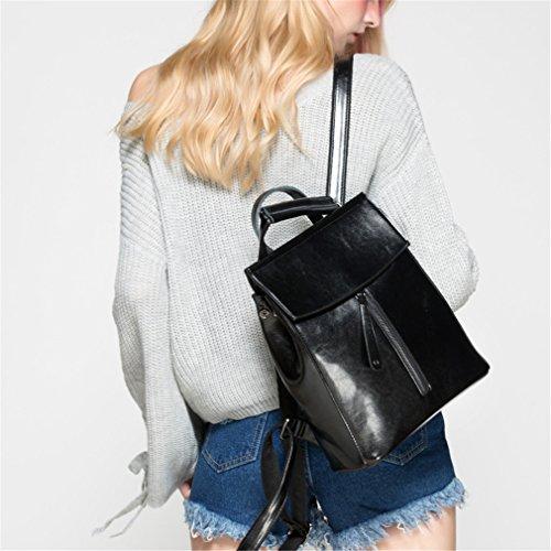 Leder Rucksack Vintage Kuh Split Leder Frauen Rucksack Damen Schultertasche Schultasche für Teenager Black