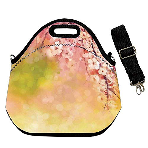 House Decor Portable Neoprene Lunch Bag,Japanese Cherry Sakura Floral Artwork in Soft Color over Blurred Nature Background for Work Office Picnic Travel Mom Bag,With Shoulder Straps(12.6''L x 6.3''W - Cherry 320
