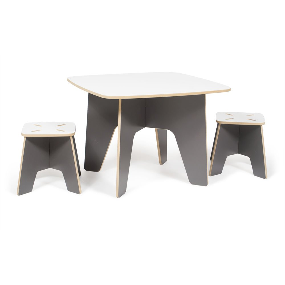 Modern Kids Table and Two Stool Set,Grey Folding Activity Table, American Made