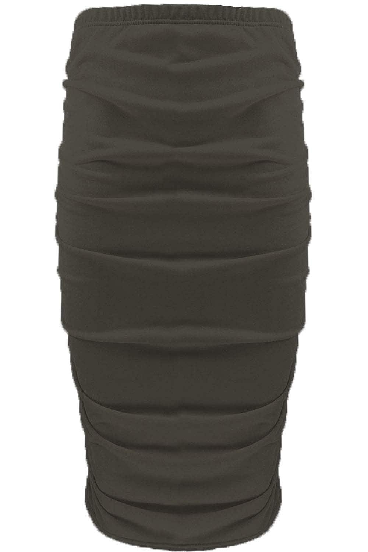 Fashion Star Womens Plain Stretchy Side Ruched Bodycon Skirt