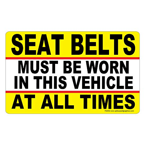 AZ House of Graphics Seat Belts Must Be Worn Stickers - 5in x 3in - 25 Pack ()