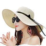Women Summer Big Brim Beach Hat Floppy Foldable Bowknot Straw Sun Hat