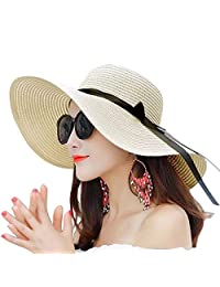 Women Summer Big Brim Beach Hat Floppy Foldable Bowknot Straw Sun Hat