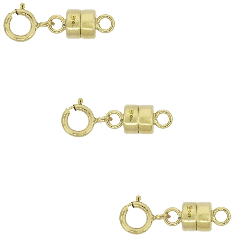 3 PACK 14k Gold 4 mm Magnetic Clasp Converter for Light Necklaces USA, Square Edge by Sabrina Silver