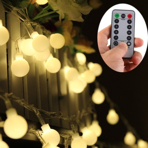 [Frosted Warm White Globe Battery String Lights with Timer & Remote, Strand of 100, 33ft/10m, 8 Mode, Waterproof] (Strand Lighting Light)