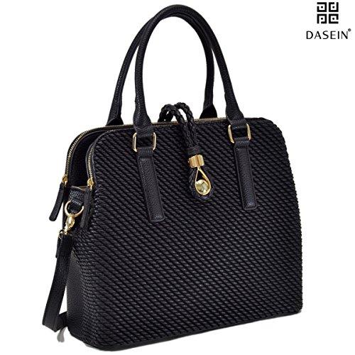 Leather Triple Compartment Laptop Bag (Dasein Medium Size Triple Zip Compartments Shoulder Bag, Satchel,)
