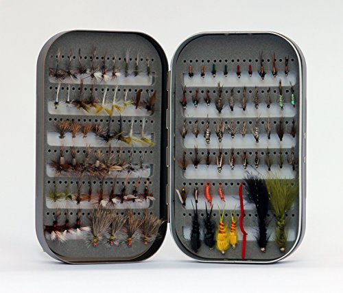 (Fly Box + 100 Assorted Fly Fishing Fly Package)