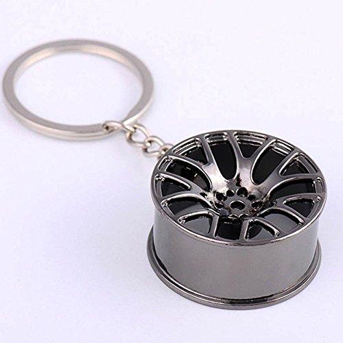 RUNMIND Creative Wheel Hub Rim Model Keychain Car Key Chain Cool Gift Black