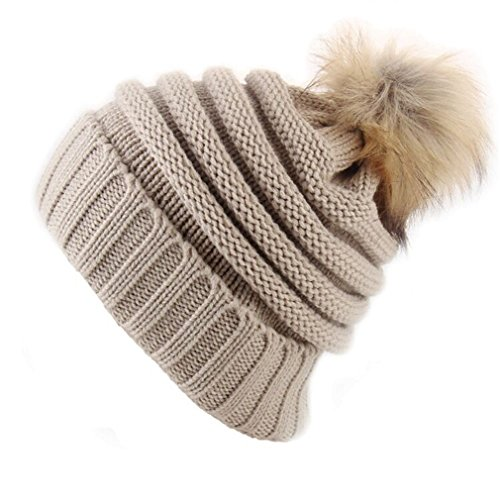 Zichhing [DingHan] Fur Ball Women's Beanies Winter Hat for Women Thicker Warm Girl 'S Wool Knitted Hat Solid Skullies Cap Headgear Gorros -
