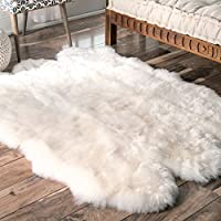 nuLOOM Sheepskin Collection Luxe Shag and Flokati Contemporary Hand Made Area Rug, Sexto Pelt, Natural