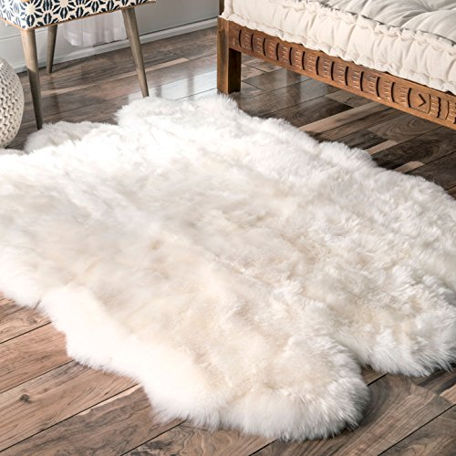 nuLOOM Sheepskin Collection Luxe Shag and Flokati Contemporary Hand Made Area Rug, Sexto Pelt, - Flokati Natural Rug