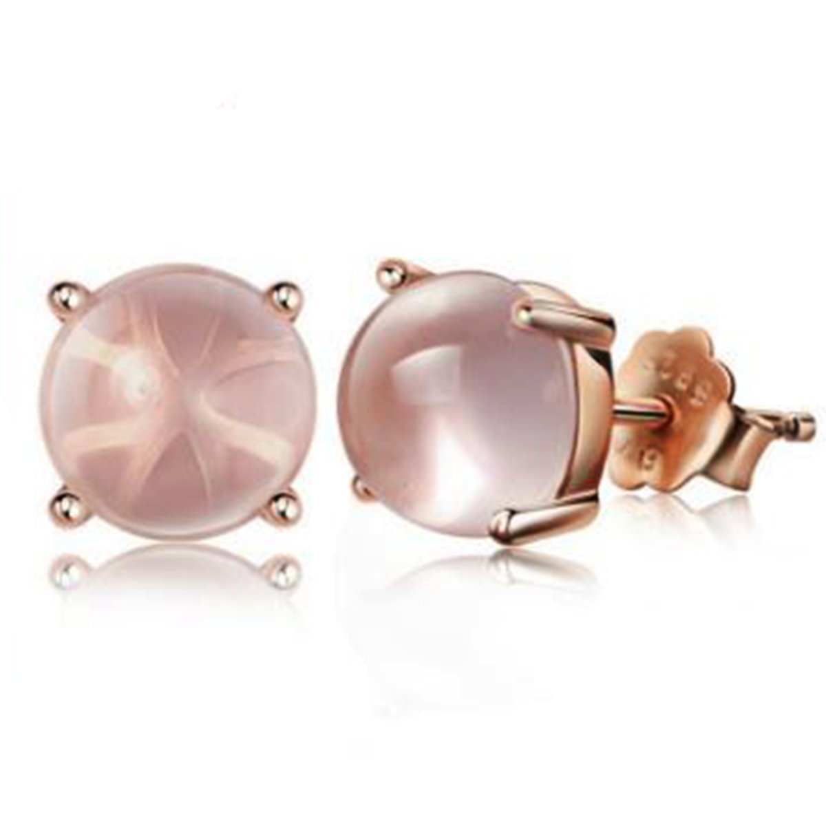Sephla Rose Gold Plated Stud Earrings Made With Madagascar AAA Light Pink Moonstone For Women SED00094