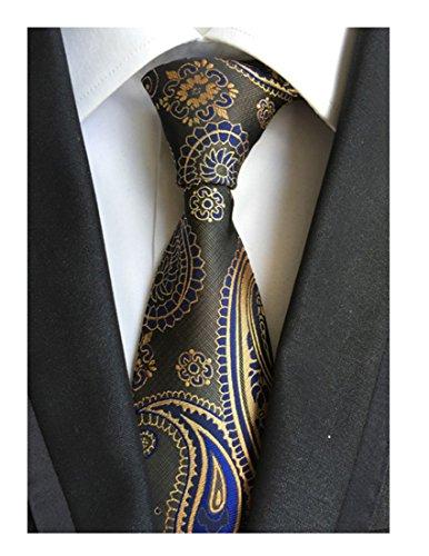 MINDENG Gold Blue Mens Floral Paisley Ties Silk Jacquard Woven Suits Tie Necktie (Silk Paisley Tie)