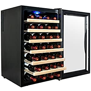 AKDY® 28 Bottle Single Zone Thermoelectric Freestanding Wine Cooler Cellar Chiller Refrigerator Fridge Quiet Operation – Looks nice, is a great size