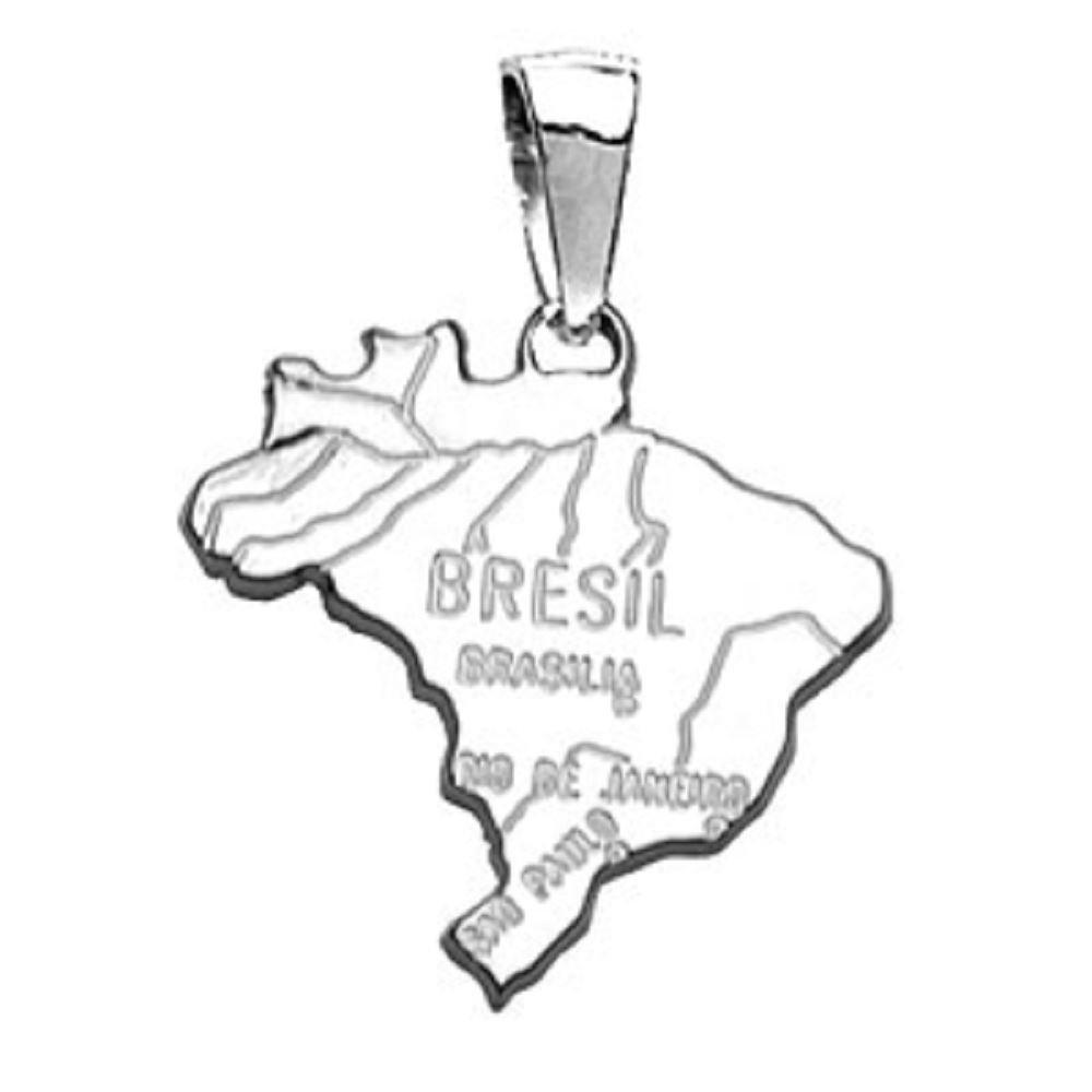 HELIOS BIJOUX - Pendentif Pays Carte Brésil - Argent Massif 925°°° Rhodié - 3gr - Neuf