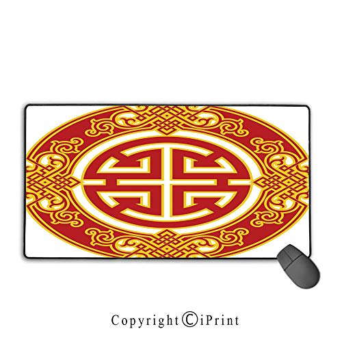 Waterproof Coated Mouse pad,Ancient China Decorations,Career Luck Symbol Oriental Pattern Wishing Wealth Prosperity Decorative,Red Yellow,Suitable for laptops, Computers, PCs, Keyboards, Mouse pad wi -