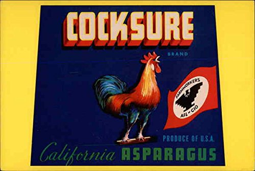 California Asparagus (Cocksure brand California Asparagus, Produce of U.S. A Advertising Reproductions Original Vintage Postcard)
