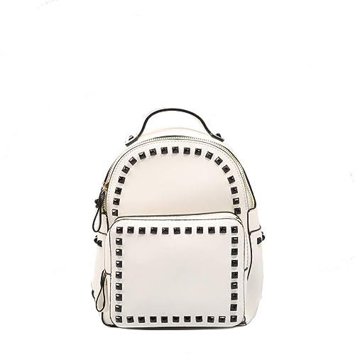 COOLWAY, mochila blanca con tachas para mujer: Amazon.es: Zapatos y complementos