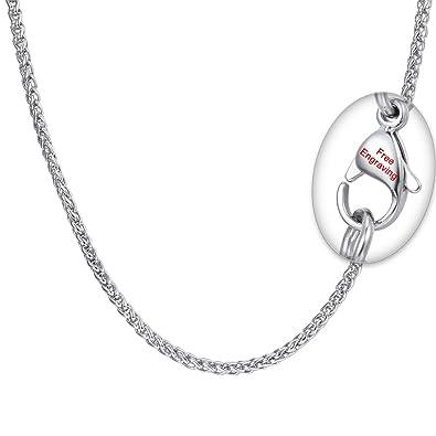 PROSTEEL Collar Hombre de Cadena de la Cuerda Plata de Ley/Acero Inoxidable 1.3mm/1.6mm/3mm/6mm de Diámetro 46/51/55/61/66/71/76cm de Longitud ...