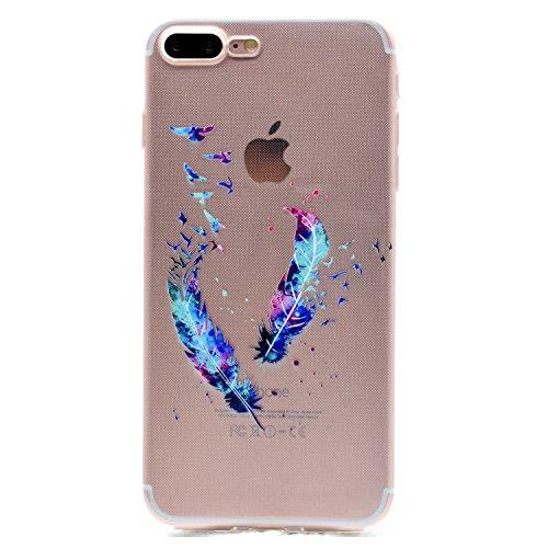 iPhone 7 Plus Hülle , Leiai Modisch Feder Pferd TPU Weich Tasche Schutzhülle Silikon Handyhülle Stoßdämpfende Schale Fall Case Shell für Apple iPhone 7 Plus