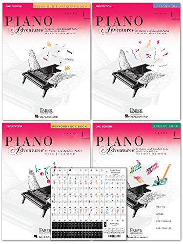 (Piano Adventures Level 1 Learning Library Set By Nancy Faber - Lesson, Theory, Performance, Technique & Artistry Books & Juliet Music Piano Keys 88/61/54/49 Full Set Removable Stickers)