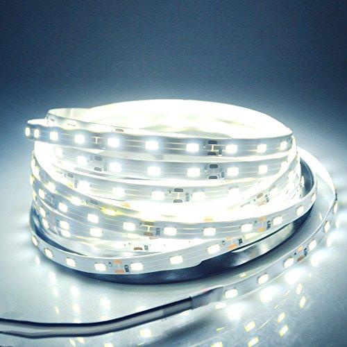 WenTop Led Strip Lights Non-waterproof Led Tape Light DC 12v SMD 3528 16.4 Ft (5M) 300leds 60leds/m White Flexible Led Lighting Under Cabinet Lighting, Makeup light, Mirror Lights - No Power Supply