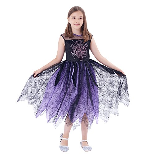Girls' Halloween Colourful Magical Witch Costume, Role Play & Dress Up (6-8Y) - Colourful Fancy Dress Costumes