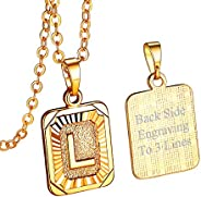 FOCALOOK Initial Letter Pendant Necklace Mens Womens Capital Letter Yellow 18K Gold Plated A-Z Golden Chain 20